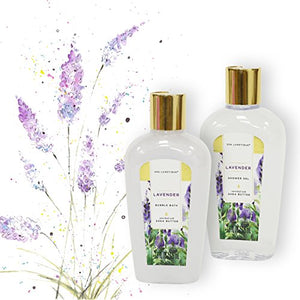 Spa Gift Basket Lavender Fragrance, Luxurious 8pc Gift Baskets for Women, Cute Bath Tub Holder - Gift Set for Women Includes Shower Gel, Bubble Bath, Body Butter & More - BelCorner