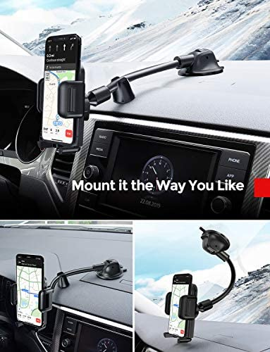 Car Phone Mount, Dashboard Windshield Car Phone Holder with Long Arm, Strong Sticky Gel Suction Cup, Anti-Shake Stabilizer Compatible iPhone 11 Pro/Max/XS/XR/X/8/7, Galaxy, Moto and More