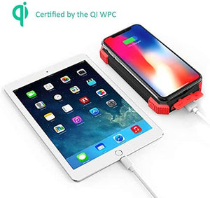 Solar Power Bank, Qi Portable Charger 10,000mAh External Battery Pack Type C Input Port Dual Flashlight, Compass (IPX4 Splashproof, Dustproof, Shockproof, Solar Panel Charging, DC5V/2.1A Input)