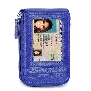BelCorner Credit Card Wallet with Zipper, Genuine Leather RFID Credit Card Holder for Women Ladies Wallets
