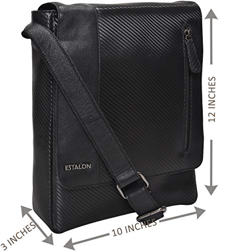 Leather Sling Bag for Tablets - Small Crossbody Messenger Bag for Men and Women