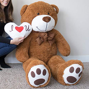 Yesbears Giant Teddy Bear 5 Foot Brown Microfiber Bowtie & Face (Pillow Included)