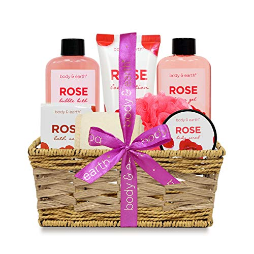Bath Spa Gifts for Women, Body & Earth Bath Spa Basket Luxurious 7 Piece Bath Body Set with Rose Scented-Shower Gel, Body Lotion, Body Scrub, Bubble Bath, Bath Salts, Sponges - BelCorner