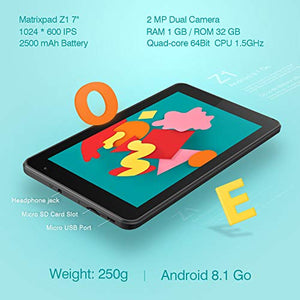 Z1 7 inch Tablet, Android 8.1 Oreo Go Edition, 32GB Storage, Quad-Core Processor, IPS HD Display, Wi-Fi, Bluetooth, Black : Gateway - BelCorner