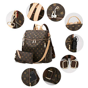 Backpack for women, Fashion Leather Shoulder Bag and 2pcs Purse Backpack Set - BelCorner