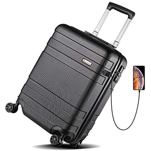 Luggage 21 Inch Carry On Luggage 4-level Handle Travel Suitcase with Two USB Charging Port, Built-in TSA Lock - BelCorner