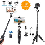 All in one Portable 40 Inch Aluminum Alloy Selfie Stick Phone Tripod with Wireless Remote Shutter for iPhone 11 pro Xs Max Xr X 8 7 6 Plus, Android Samsung Galaxy S9 Note8 Smartphone