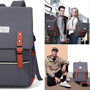 Vintage Laptop Backpack for Women Men,School College Backpack with USB Charging Port Fashion Backpack Fits 15 inch Notebook (Grey)