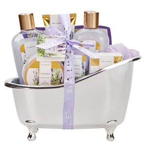 Spa Luxetique Spa Gift Baskets for Women, Lavender Spa Gift Basket, Mother's Day Gift Set, Luxury 8 Pcs Home Spa Gift Set with Body Lotion, Bath Bombs, Bath Salt, Best Bath Gift Set for Women.