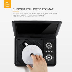 Portable DVD Player for Kids and Car Swivel Screen Support SD Card USB CD DVD with AV Input/Output and Earphone Port