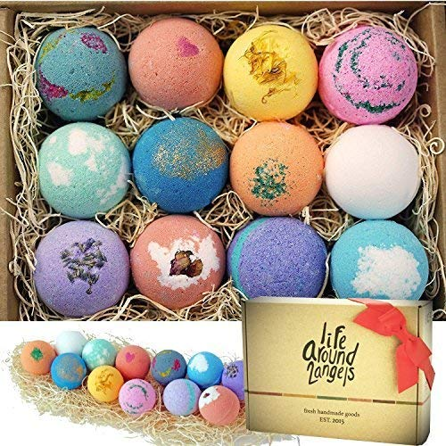 Bath Bombs Gift Set 12 USA made Fizzies, Shea & Coco Butter Dry Skin Moisturize, Perfect for Bubble & Spa Bath. Handmade Birthday Mothers day Gifts idea For Her/Him, wife, girlfriend - BelCorner
