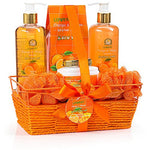 Gift Basket for Women - Orange & Mango Fragrance - Luxury 7 Piece Bath & Body Set For Women, Contains Shower Gel, Bubble Bath, Body Lotion, Salts, 2 Bath Poufs and Handmade Basket - BelCorner