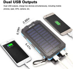 Solar Power Bank,Yelomin 20000mAh Portable Outdoor Mobile Charger,Camping External Backup Battery Pack Dual USB 5V 1A/2A Outputs 2 Led Light Flashlight with Compass