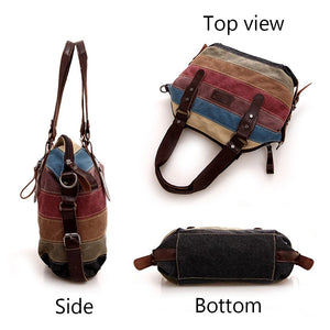 Rainbow Canvas Tote Bag Multi-Color Striped Handbag Women Shoulder Bag - BelCorner