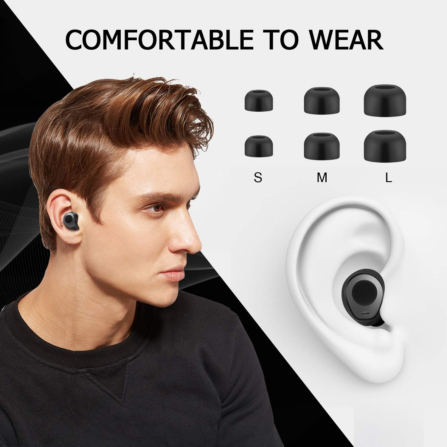 Wireless Bluetooth Earbuds, Waterproof, With Mic and Charging Case - BelCorner