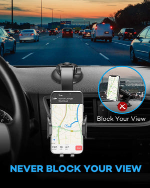 360 Degree Rotation Phone Mount for Car Dashboard Car Windshield Upgrade Hands Free Phone Holder Compatible with iPhone 11 XS XR X 8 7 Galaxy S10+ S10e S9 All Smartphones