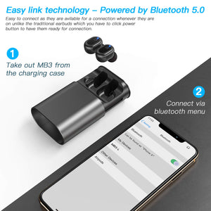 Bluetooth 5.0 Wireless Earbuds IPX8 Waterproof in-Ear with Wireless Charging Case, 16H Playtime 3D Stereo Sound with Deep Bass Wireless Headphones - BelCorner
