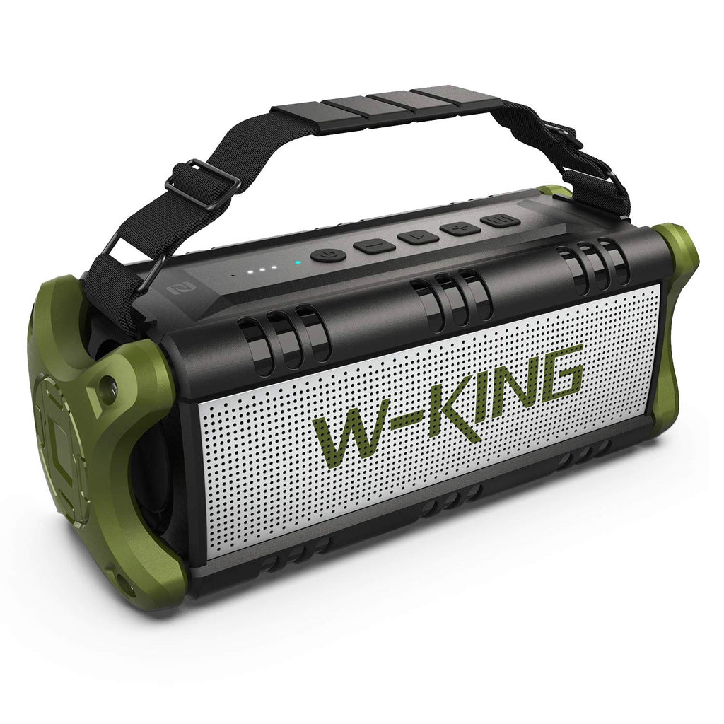 50W(70W Peak) Wireless Bluetooth Speakers Built-in 8000mAh Battery Power Bank, W-KING Outdoor Portable Waterproof TWS, NFC Speaker, Powerful Rich Bass Loud Stereo Sound (Green)