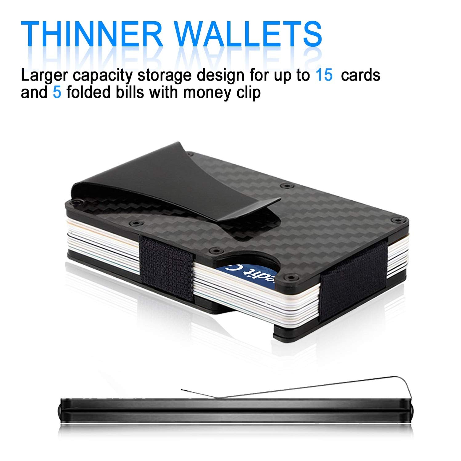 BelCorner Carbon Fibre Wallet, Slim Money Clip & Minimalist RFID Blocking Front Packet Slim Wallet, Aluminum Metal Wallet & Business Card Holder Billfolds for Men and Women