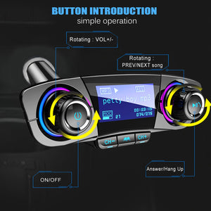 Bluetooth FM Transmitter Handfrees-Calling Radio Adapter Car Kit with Dual USB Port MP3 Player Support TF Card USB Flash Drive
