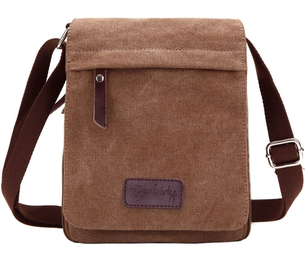 Small Canvas Classic Messenger Bag Field Journey Shoulder Bag for Traveling, Hiking, Camping - BelCorner