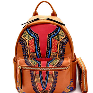 Red Dashiki Print Vegan Leather Backpack and Wallet Set - BelCorner
