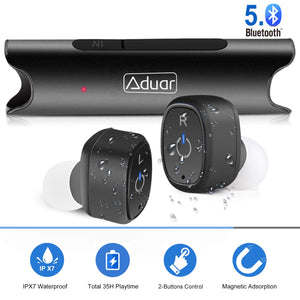 Wireless Bluetooth Earphones Wireless Headset 5.0, IPX7 Waterproof, Stereo Hi-Fi Sound, Earphone with Mic Charging Case - BelCorner