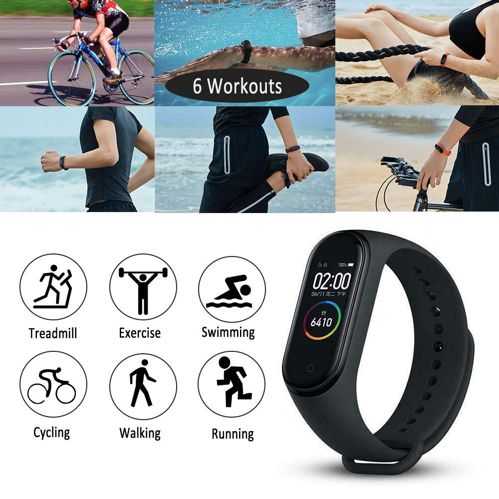 "Xiaomi Mi Band 4 Fitness Tracker, Newest 0.95"" Color AMOLED Display Bluetooth 5.0 Smart Bracelet Heart Rate Monitor 50 Meters Waterproof Bracelet with 135mAh Battery up to 20 Days Activity Tracker"