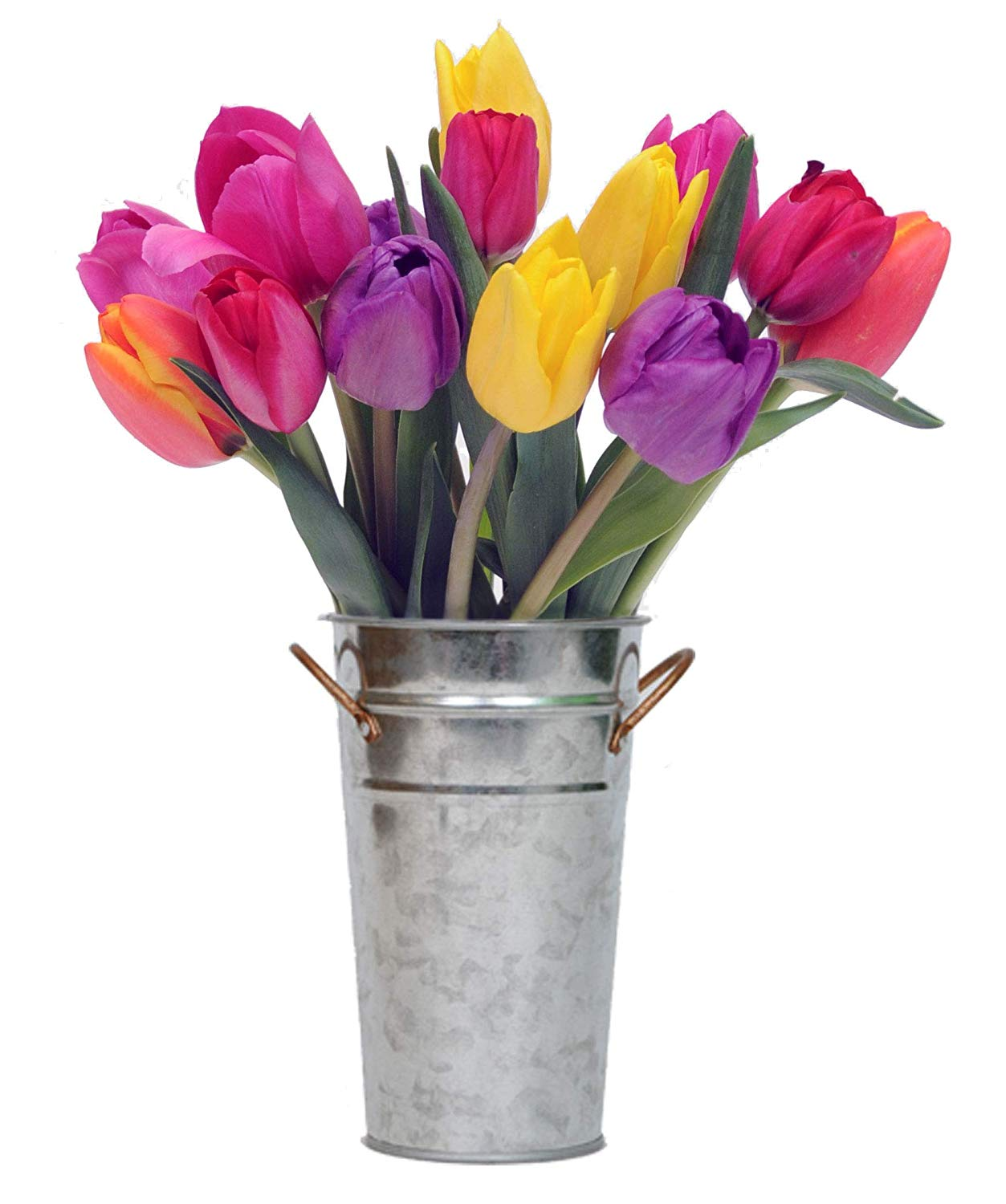 Confetti Bouquet - Colorful Fresh Tulips With Vase - California Grown