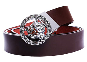 Leather Men's Luxury Gold/Silver Tiger Buckle 35-mm Italian Leather Belt