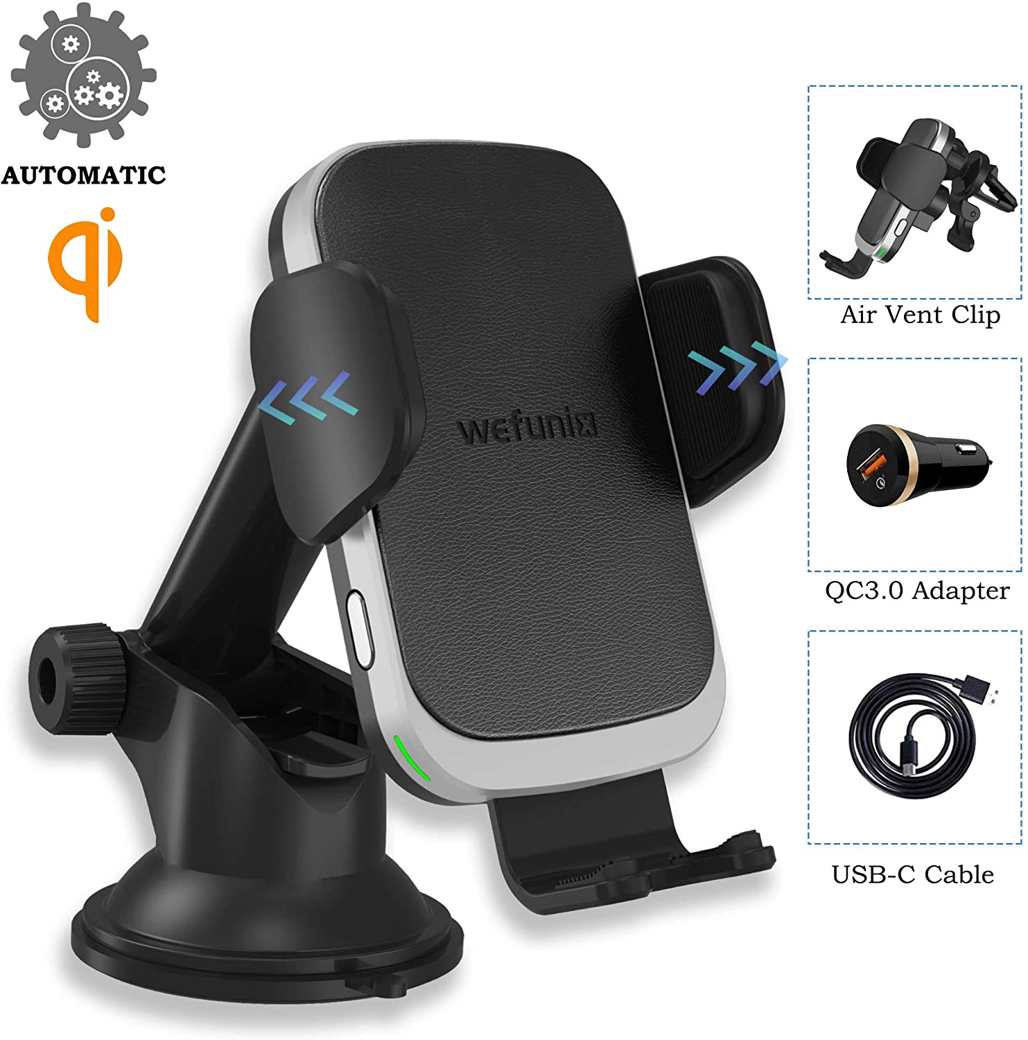 Smart Auto Wireless Car Charger Phone Holder Upgraded 2020 Version, 10W Fast Qi Automatic Clamping Charging Mount Dock Compatible for iPhone and Samsung
