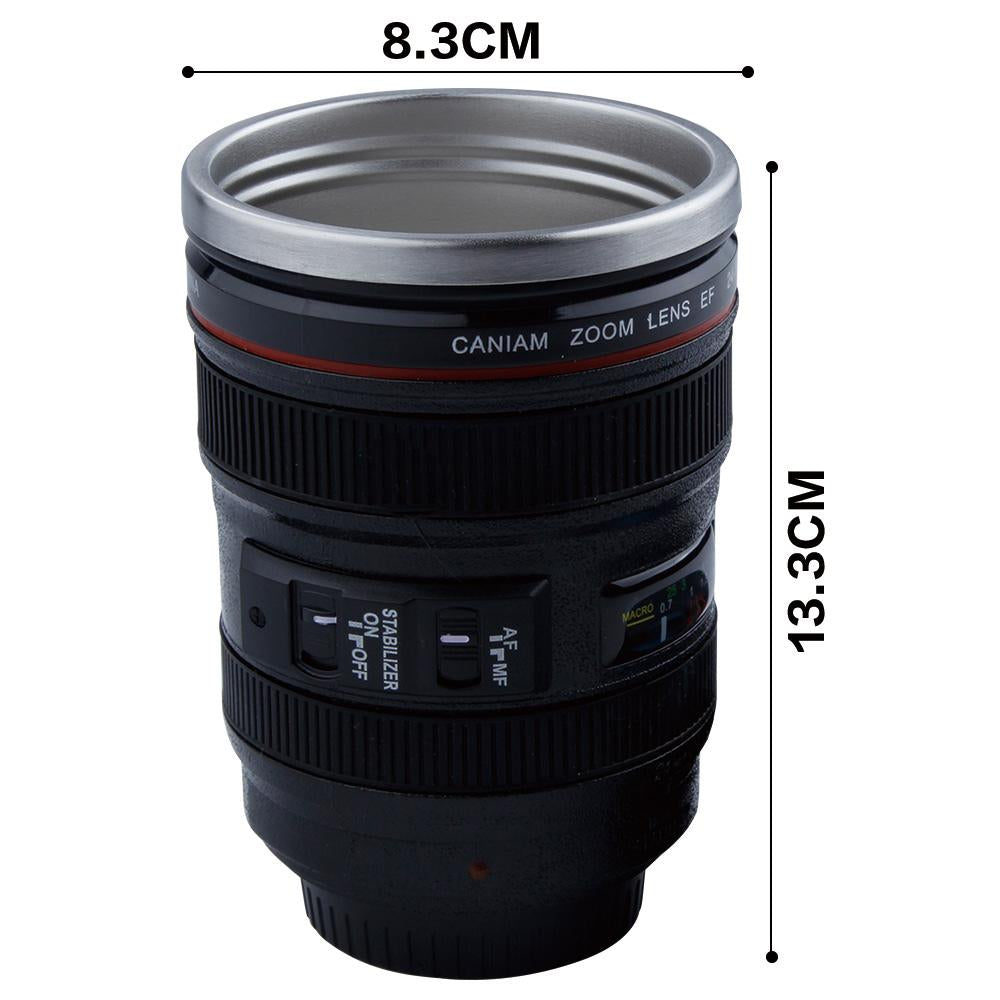 400ml Stainless Steel Camera Lens Mug With Lid New Fantastic Coffee Mugs Tea Cup Novelty Gifts Caneca Lente Cups  Drinkware - BelCorner