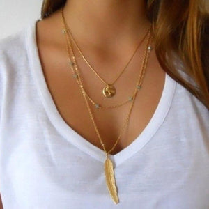 Flawless Women Multilayer Irregular Necklace Gold - BelCorner