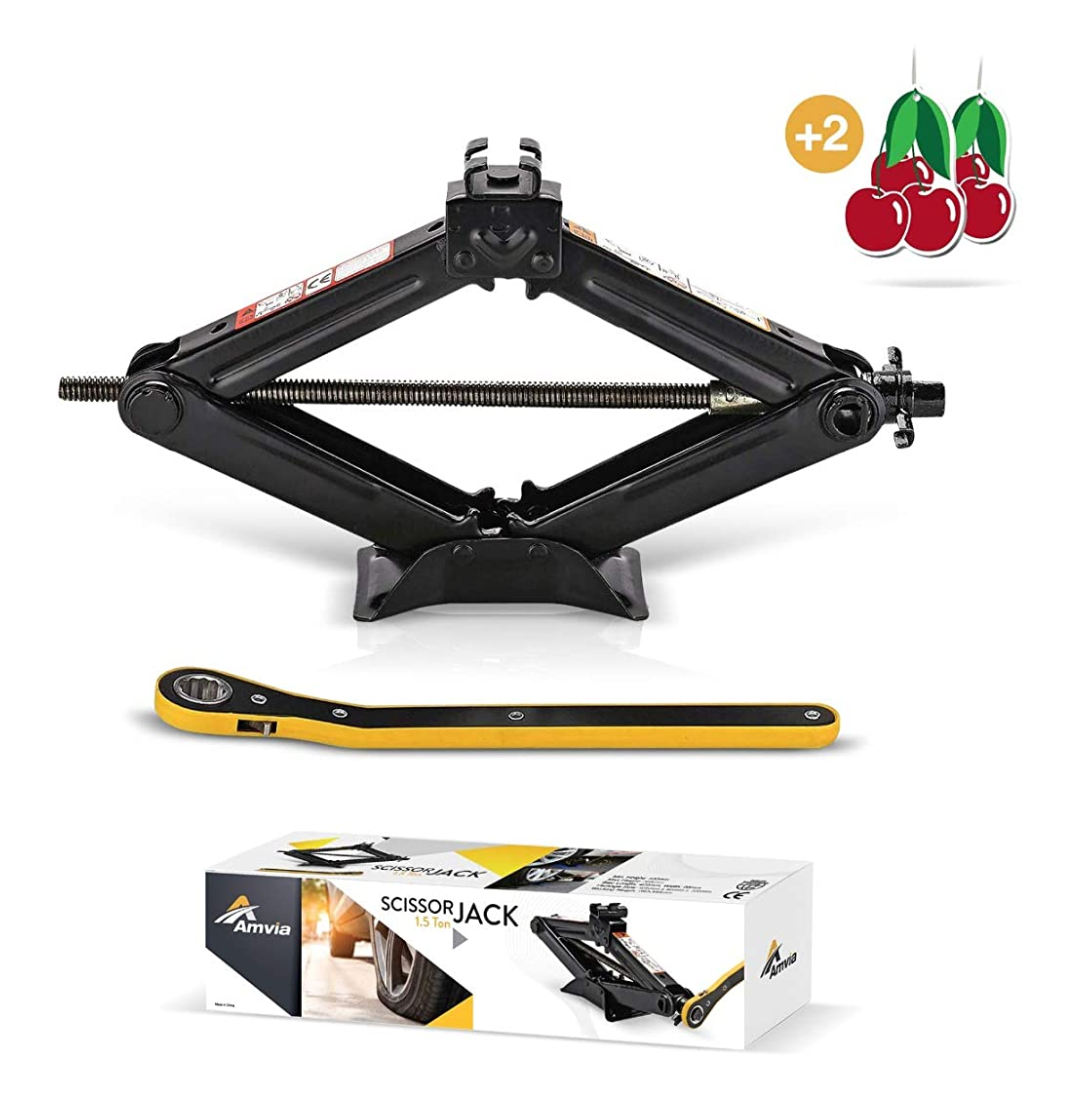 Amvia Scissor Jack for Car - 1.5 Ton (3,300 lbs) | Car Jack Kit - Tire Jack | Portable, Ideal for SUV and Auto - Smart Mechanism with Ratchet | Heavy
