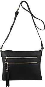 Multi-Zipper Crossbody Handbag Purse with Tassel Accents
