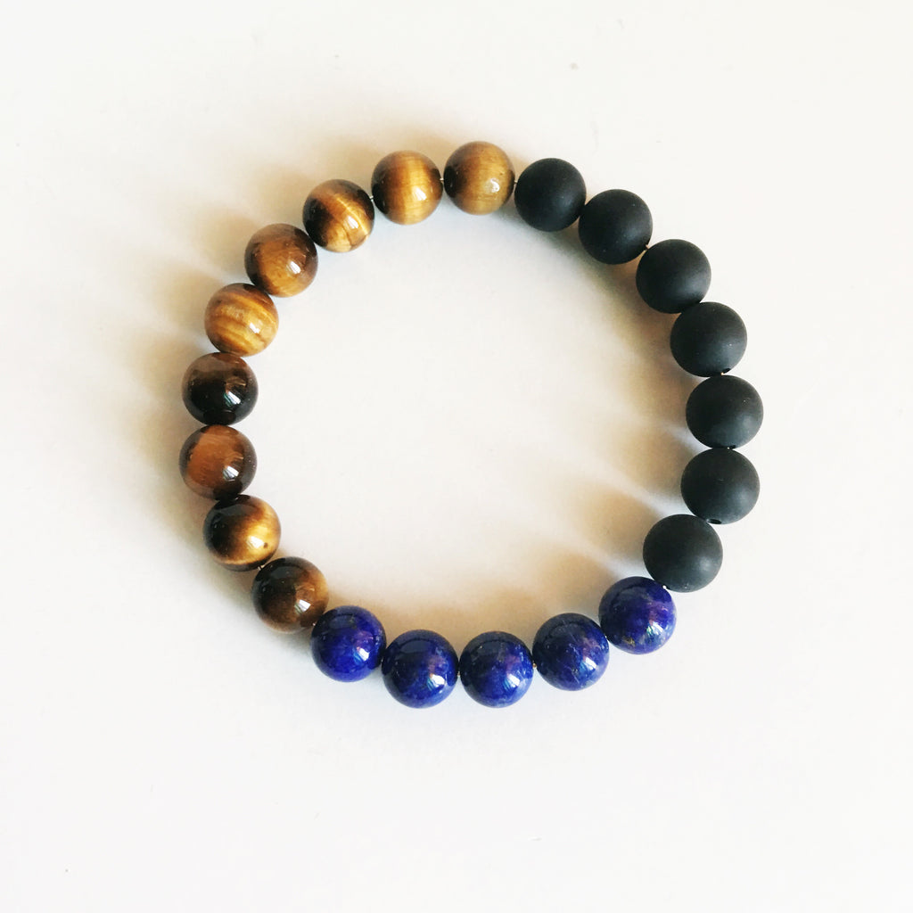 Black Onyx, Lapis Lazuli and Tiger Eye Bracelet - BelCorner