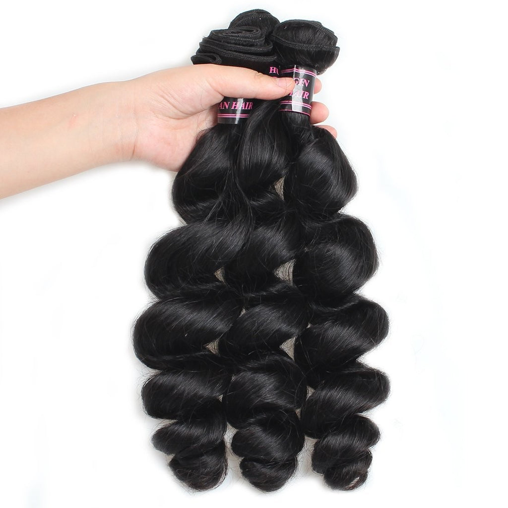 Human Virgin Hair Peruvian loose wave Hair 3 Bundles Unprocessed Human Hair Weave - BelCorner