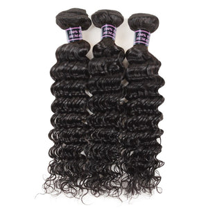 Human Virgin Hair Peruvian deep wave Hair 3 Bundles Unprocessed Human Hair Weave - BelCorner