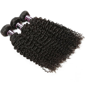 Human Virgin Hair Kinky Curly Peruvian Virgin Human Hair Weave 3 Bundles - BelCorner