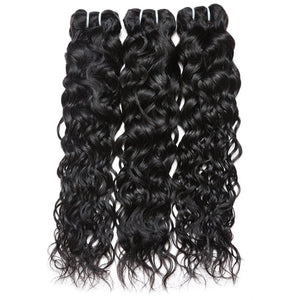Hair Bundles with closure Brazilian  Unprocessed water wave Virgin Human Hair 3 Bundles With Lace Closure hair weaving human virgin hair bundles - BelCorner