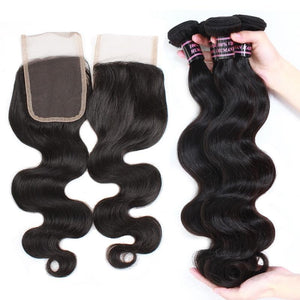 Peruvian Unprocessed Body Wave Virgin Human Hair 3 Bundles With Lace Closure hair weaves hair extension hair bundles with closure - BelCorner