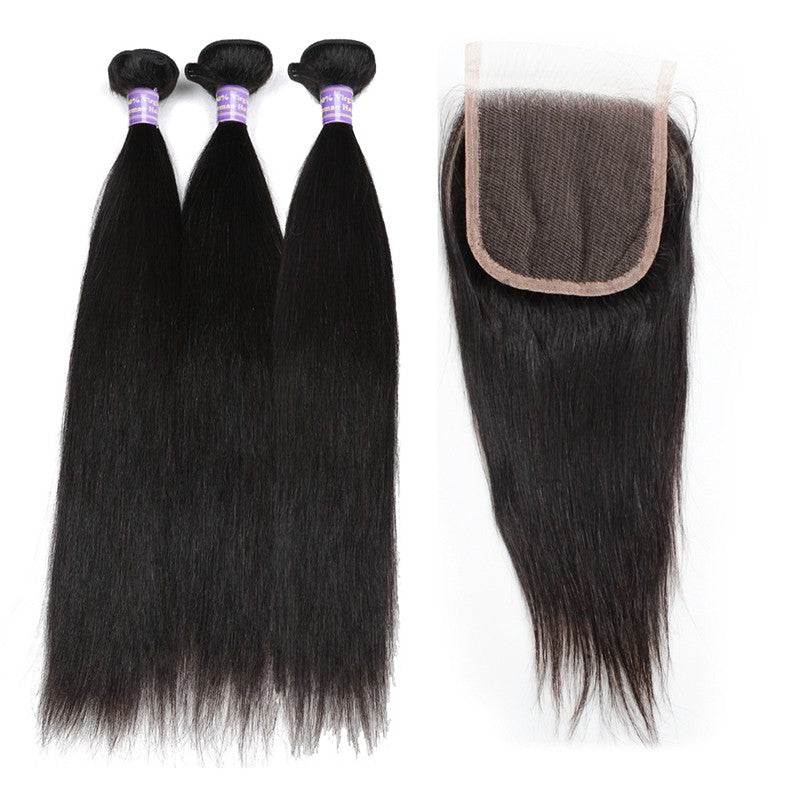 Peruvian Unprocessed Straight Virgin Human Hair 3 Bundles With Lace Closure hair weaves with closure hair bundles with closure hair extensions - BelCorner