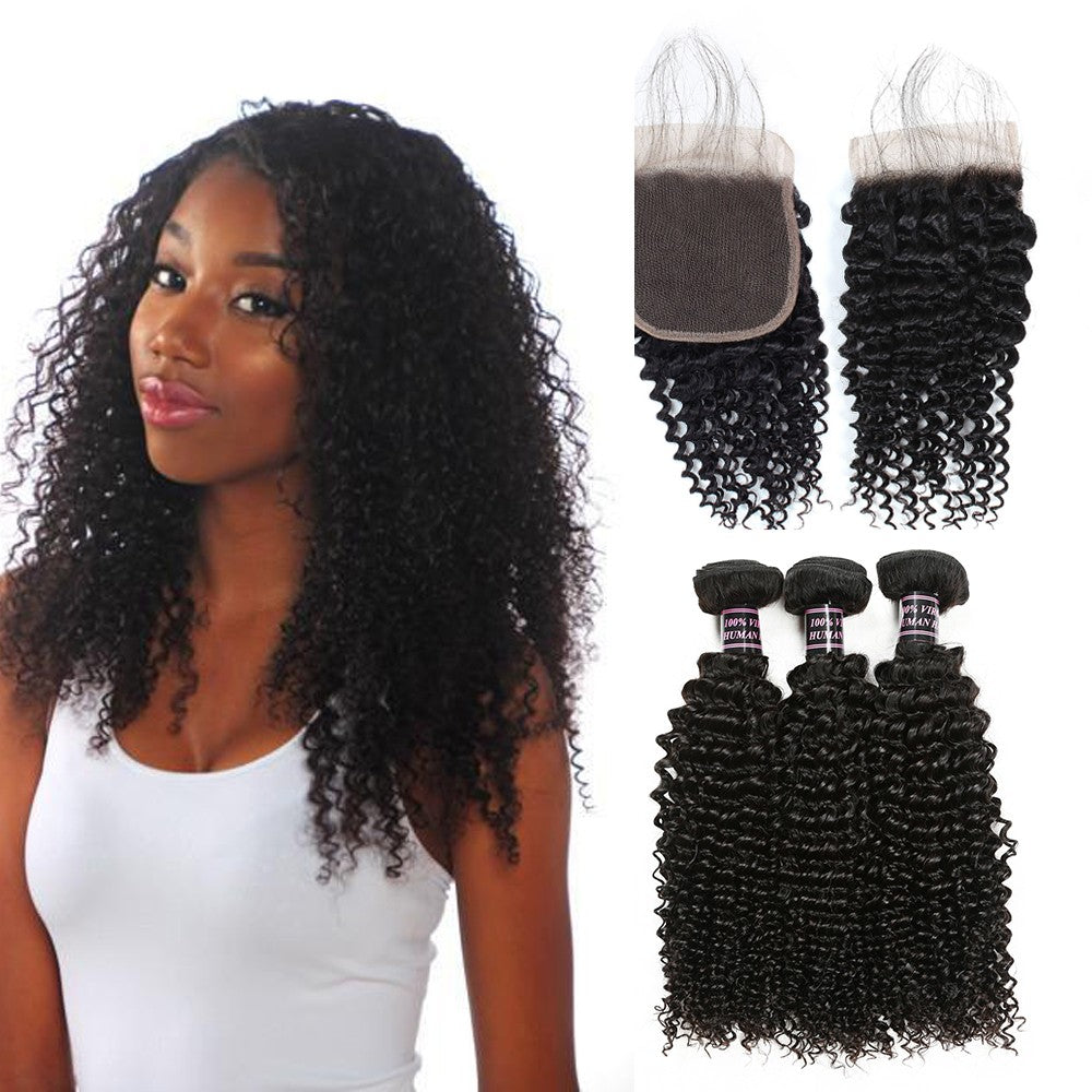 Indian Unprocessed kinky curly Virgin Human Hair 3 Bundles With Lace Closure hair weft human virgin hair bundles with closure - BelCorner