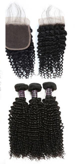 Malaysian Unprocessed kinky curly Virgin Human Hair 3 Bundles With Lace Closure hair weft human virgin hair - BelCorner