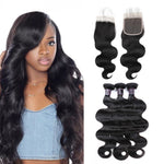 Malaysian Unprocessed Body Wave Virgin Human Hair 3 Bundles With Lace Closure hair bundles - BelCorner