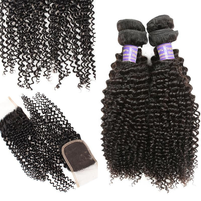 Peruvian Unprocessed kinky curly Virgin Human Hair 3 Bundles With Lace Closure hair weft human virgin hair - BelCorner