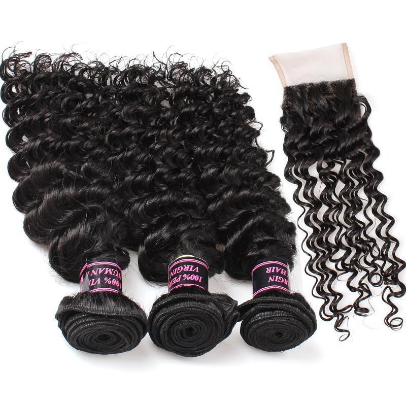 Malaysian  Unprocessed deep wave Virgin Human Hair 3 Bundles With Lace Closure hair weaving human virgin hair - BelCorner