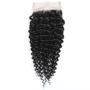 Brazilian Unprocessed kinky curly Virgin Human Hair 3 Bundles With Lace Closure hair weft human virgin hair budles with closure - BelCorner