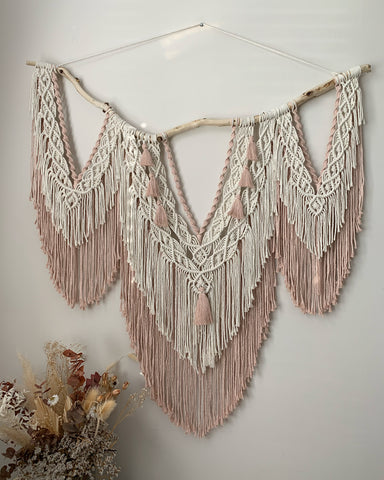 Large macramé wall hanging handcrafted in Northern Ireland.