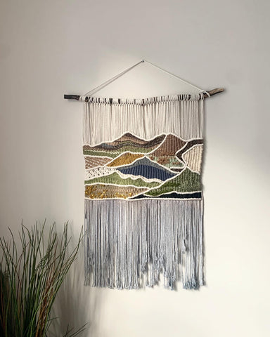 The mourne mountains, woven and macramé tapestry . Handcrafted in Holywood Co, Down. Northern Ireland.